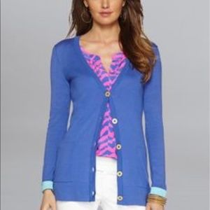 Lilly Pulitzer Heidi V-Neck Blue Buttoned Cardigan